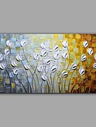 Ручная роспись Цветочные мотивы/ботанический Горизонтальная,Абстракция Пастораль 1 панель Холст Hang-роспись маслом For Украшение дома