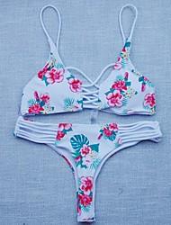baratos -Mulheres Nadador Floral / Extensões para Entrelace / Color Block Biquíni - Floral, Estampado Folha tropical / Com Laço