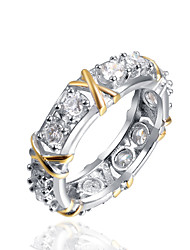 Women's Midi Rings Band Rings Fashion Two-tone Classic Zircon Alloy Geometric Jewelry For Party Engagement Gift Evening Party