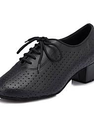 cheap -Women's Latin Shoes Leatherette Sneaker Stiletto Heel Customizable Dance Shoes Black / Professional