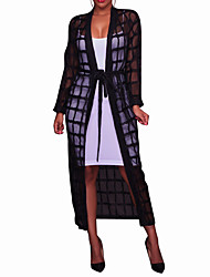 cheap -Women's Casual Holiday Going out Grid Smocks Summer Fall Cloak/Capes,Solid Checks Sexy Cowl Long Sleeve Long Polyester Mesh