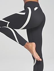 Damen Mittel Gestreift Genähte Spitzen Legging