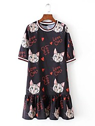 cheap -Women's Going out Casual/Daily Simple Street chic Loose Dress,Print Round Neck Knee-length Short Sleeves Silk Summer Mid Rise