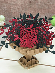 Piegato in alto Inviti di nozze 5-Biglietti di Ringraziamento Set per partecipazioni ed inviti Artistico Stile Floreale In rilievo Fiori