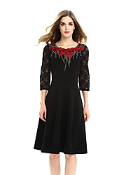 Womens Embroidery Elegant Vintage See Through Hollow Out Lace Autumn Contrast Patchwork Cutout Tunic Work office Vintage Casual Party A Line Dress