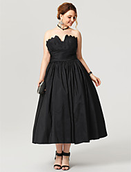 cheap -Ball Gown Notched Tea Length Taffeta Prom / Formal Evening Dress with Sash / Ribbon Tiered Pleats Ruched by TS Couture®