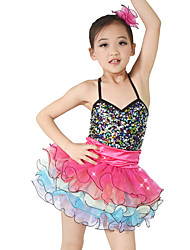 cheap -Ballet Outfits Performance Organza Sequined Lycra Sequin Tier Ruffles Sleeveless Natural