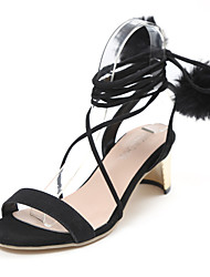 Women's Sandals Sweet Fashion Club Shoes Spring Summer PU Party/Evening Daily Dress Going out Lace-up Chunky Heel Black Blushing Pink