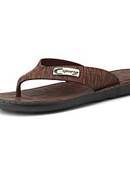 preiswerte -Herrn Schuhe PU Sommer Leuchtende Sohlen Slippers & Flip-Flops Wasser-Schuhe für Normal Grau Dunkelbraun
