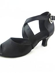 "Women's Latin Silk Sandals Performance Buckle Cuban Heel Black 2"" - 2 3/4"" Customizable"