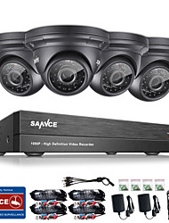 cheap -SANNCE® 4CH CCTV Security System Onvif 1080P AHD/TVI/CVI/CVBS/IP 5-in-1 DVR with 4*2.0MP Night Vision Weatherproof Cameras No HDD