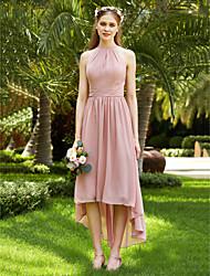 economico -Linea-A Con decorazione gioiello Asimmetrico Chiffon Vestito da damigella con Fascia / fiocco in vita Con ruche A pieghe diLAN TING