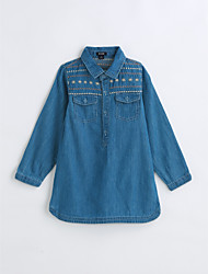 cheap -Girls' Shirt, Cotton Spring Fall Long Sleeves Blue