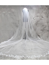 Wedding Veil One-tier Cathedral Veils Lace Applique Edge Lace Tulle