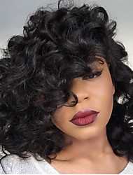 cheap -Human Hair Lace Front Wig Brazilian Hair Curly Wig Bob Haircut / With Baby Hair Natural Hairline / African American Wig / 100% Hand Tied Women's Short / Medium Length / Long Human Hair Lace Wig