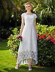 cheap -A-Line Jewel Neck Asymmetrical Tulle Over Lace Made-To-Measure Wedding Dresses with Draping / Lace by LAN TING BRIDE®