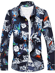 cheap -Men's Going out Party/Cocktail Casual Street chic Winter Fall Shirt,Floral Geometric Shirt Collar Long Sleeves Cotton Rayon Medium
