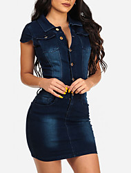 Women's Going out Casual/Daily Club Sexy Simple Street chic Classic Bodycon DressSolid Shirt Collar Mini Short Sleeve Denim Spring SummerMid