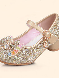 cheap -Girls' Shoes Leatherette Summer Fall Flower Girl Shoes Comfort Flats Sequin Buckle for Casual Dress Gold Silver Blue Pink