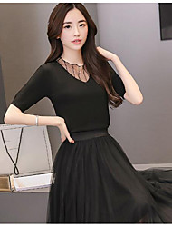 Women's Daily Casual Casual Summer T-shirt Skirt Suits,Solid Round Neck Short Sleeve Micro-elastic