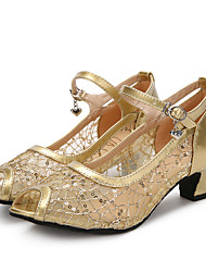 Women's Latin Sparkling Glitter Net Patent Leather Sandals Heels Sneakers Indoor Buckle Sparkling Glitter Cuban Heel Gold Black Silver 2""