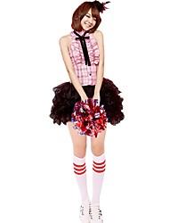 Costumes de Pom-Pom Girl Tenue Femme Spectacle Polyester Robe pan volant Noeud Sans manche Taille haute Jupes Hauts