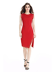 Womens Elegant Beaded Ruched Drape Sexy Side Split Zipper Lady Casual Work Office Party Bodycon Mid-Calf Midi Dress