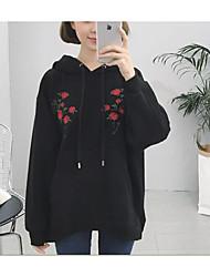 Sweatshirt Femme Décontracté Contemporain Couleur Pleine Fleur Couleur unie Col Arrondi strenchy 100% coton Manches longuesPrintemps