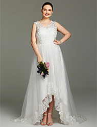 A-Line V-neck Asymmetrical Lace Tulle Wedding Dress with Appliques by LAN TING BRIDE®