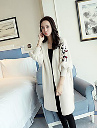 Women's Casual/Daily Simple Long Cardigan,Solid Cowl Neck Long Sleeves Cotton Fall Medium Micro-elastic