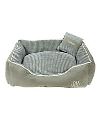 cheap -Cat Dog Bed Pet Baskets Plaid/Check Keep Warm Soft Coffee Green Khaki