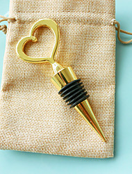 Heart of Gold Bottle Stopper in Burlap Bag Classic Theme Non-personalised Practical Beter Gifts® Tea Party Favor