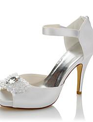 Femme Chaussures à Talons Confort Satin Eté Automne Mariage Soirée & Evénement Confort Cristal Talon Aiguille Blanc 10 à 12 cm