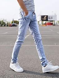 cheap -Men's Chinoiserie Straight Pants - Solid, Denim
