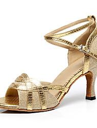 Недорогие -Для женщин Латина Искусственное волокно На каблуках Для закрытой площадки С пряжкой Золотой Черный Серебряный Серый Лиловый 6 см 7,5 см