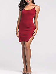 cheap -Women's Party Going out Club Sexy Bodycon Sheath Dress,Solid V Neck Above Knee Sleeveless Mercerized Cotton All Seasons High Rise Stretchy