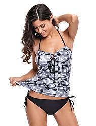 cheap -Women's Floral High Rise Print Halter Tankini Swimwear Black