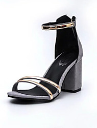 Women's Heels Basic Pump Light Soles Summer Nubuck leather Walking Shoes Dress Party & Evening Sequin Buckle Chunky Heel Block Heel Black