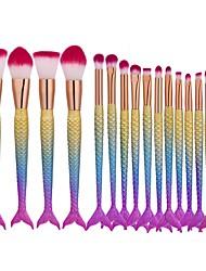 16pçs Pincel para Sombra Pincel para Base Fibra Sintética Fosco Fofinho Cobertura Total Alumínio Cara Olhos