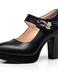 preiswerte -Damen Schuhe Kunstleder Frühling / Herbst formale Schuhe / Pumps High Heels Blockabsatz Spitze Zehe Strass / Niete / Schnalle für