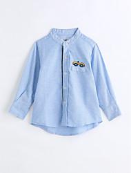 abordables -Camisa Chico Un Color Algodón Mangas largas Primavera Otoño Azul claro