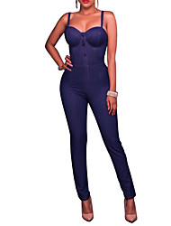 cheap -Women's Daily / Holiday / Going out Street chic Denim Jumpsuit - Solid Color / Fashion, Backless / Denim High Rise Strap / Spring