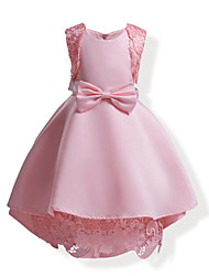 cheap -Girl's Solid Color Bowknot Lace Dress,Cotton All Seasons Sleeveless Lace Bow Blushing Pink Navy Blue