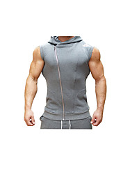 cheap -Men's Running Tank Breathability Comfortable Casual/Daily Vest/Gilet Top for Running/Jogging Exercise & Fitness Cotton Slim Black Dark