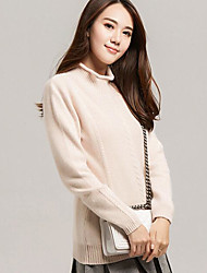 Women's Casual/Daily Simple Long Cashmere,Solid Turtleneck Long Sleeves Others Fall Winter Medium Stretchy