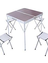 Недорогие -Складной столик для кемпинга со стульями Компактность Складной Компактный Прочный Алюминиевый сплав 4 табуретки 1 стол для Отдых и Туризм Охота Рыбалка Пляж Осень Весна Серебряный