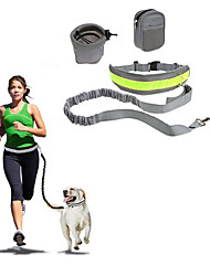 cheap -Dog Hands Free Leash Slip Lead Reflective Portable Foldable Safety Solid Nylon Cotton Black Gray