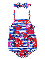 Baby Kids Floral Stripe One-Pieces,Cotton Blends Summer Floral Stripes Sleeveless Fuchsia