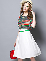 Women's Birthday Dailywear Casual Homecoming Outdoor Party/Cocktail Skirts Summer Fall T-shirt Skirt Suits,Striped Round Neck Short Sleeve