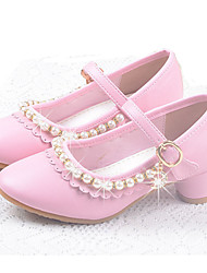 cheap -Girls' Shoes Leatherette Summer Fall Flower Girl Shoes Comfort Flats Buckle for Casual Dress White Pink